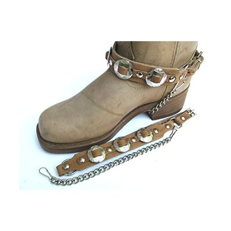 Biker Concho - Western Biker Boot Chains Light Brown Leather with Triple Nickel Conchos