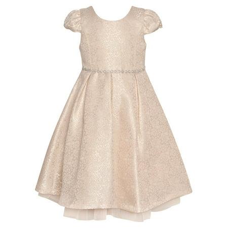 Bonnie Jean Little Girls Pink Shimmery Trim Tea-Length Easter Dress