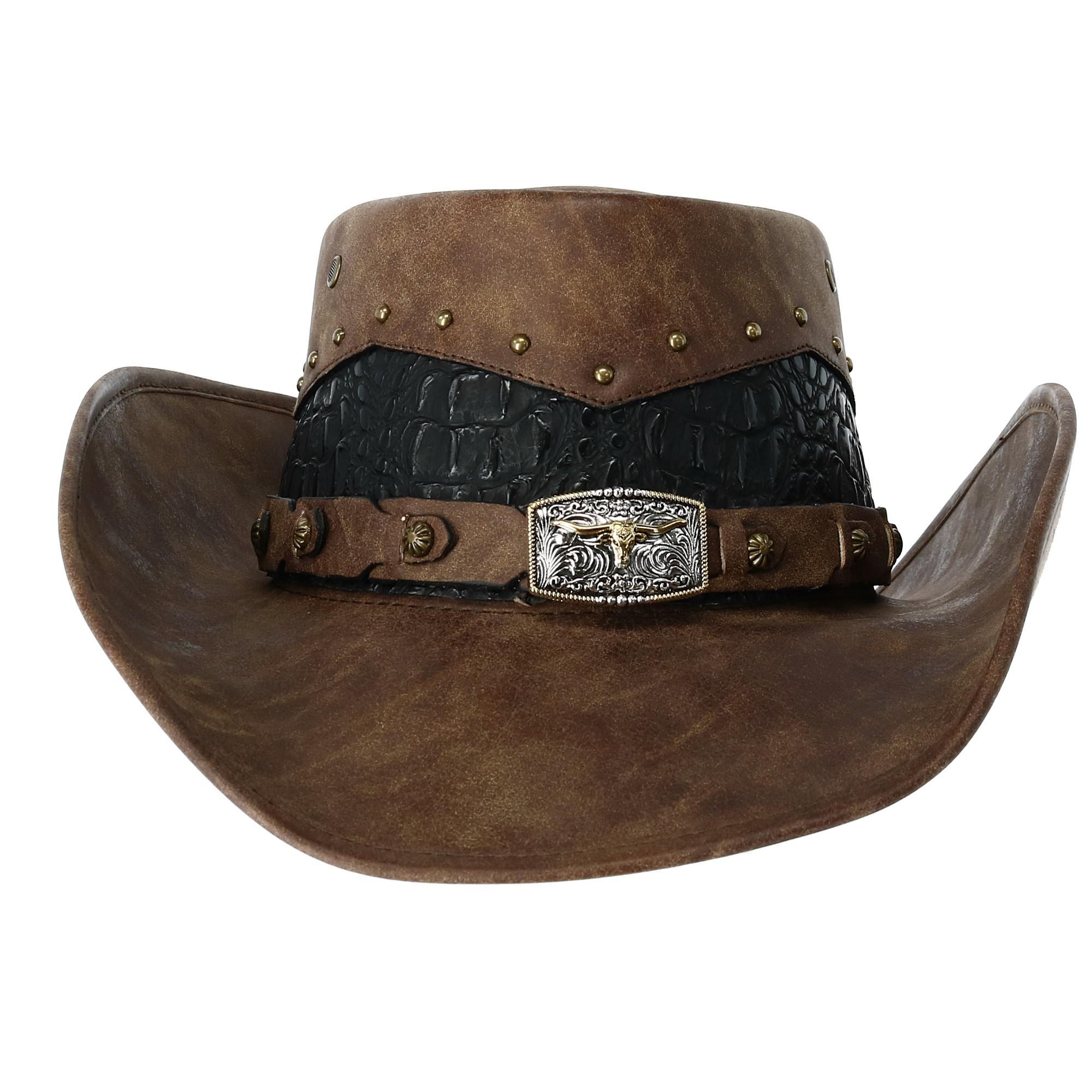 Kenny K Men's Faux Leather Western Hat with Medallion Detailed Crown - image 4 de 5