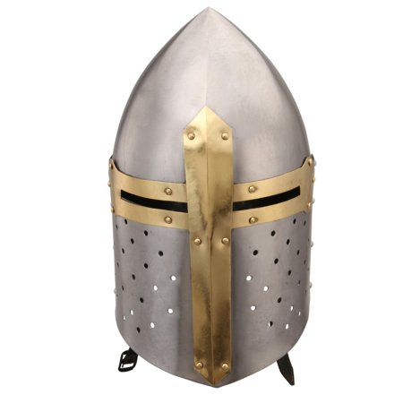 Medieval Metal Crusader Helmet, Gold and - Medieval Helmet