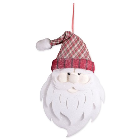 DII Large Hanging Santa with Plaid Hat, Glittering From Hat to Beard for Holiday Door & Wall Decoration, Enhance Your Décor for Home, School, Office, or Party (17L x 27.5