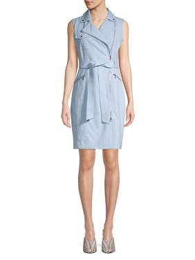 Tied Moto Zip Sheath Dress