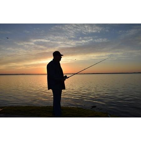 Canvas Print Portrait Sunrise Fisherman Silhouette Fishing Stretched Canvas 10 x 14