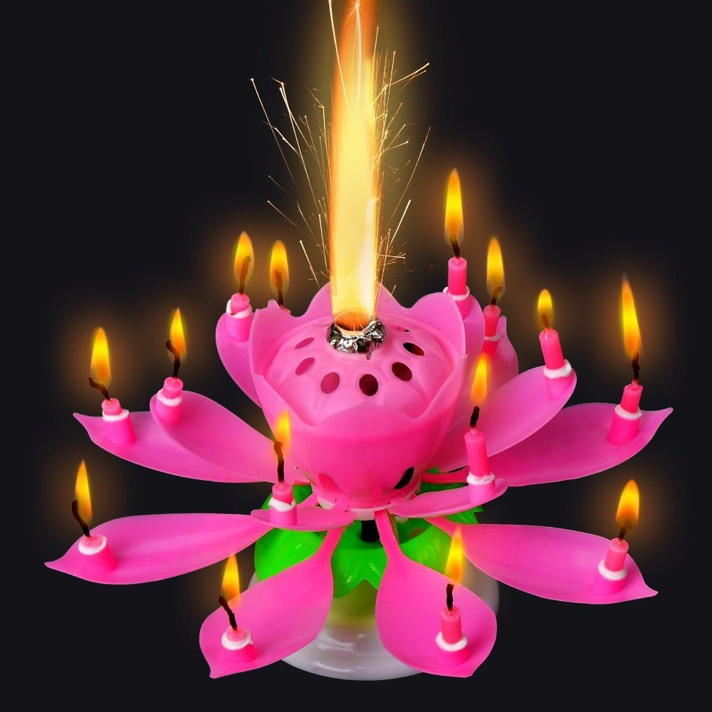 GZYF 1PC Amazing Birthday Flame Flower Lotus Music Candles Singing Rotatable Double Layers Candle Spin Candle with 14 Small Candles Pink