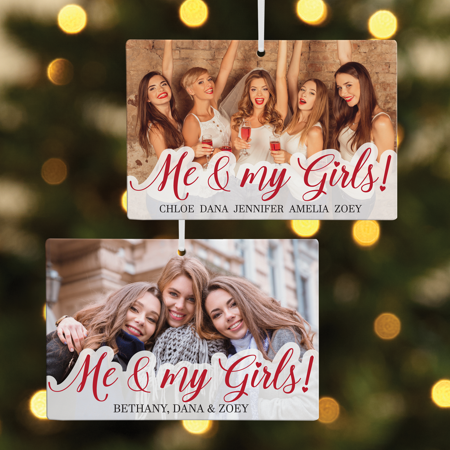 Personalized Me & My Girls Photo Christmas Ornament