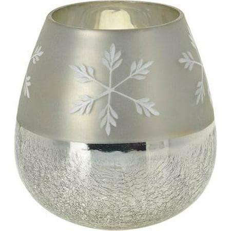 GLASS JAR - HALF CRACKLE WITH SNOWFLAKE TALL
