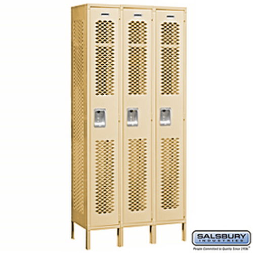 Vented Metal Locker - Single Tier - 3 Wide - 6 Feet High - 15 Inches Deep - Tan - Assembled