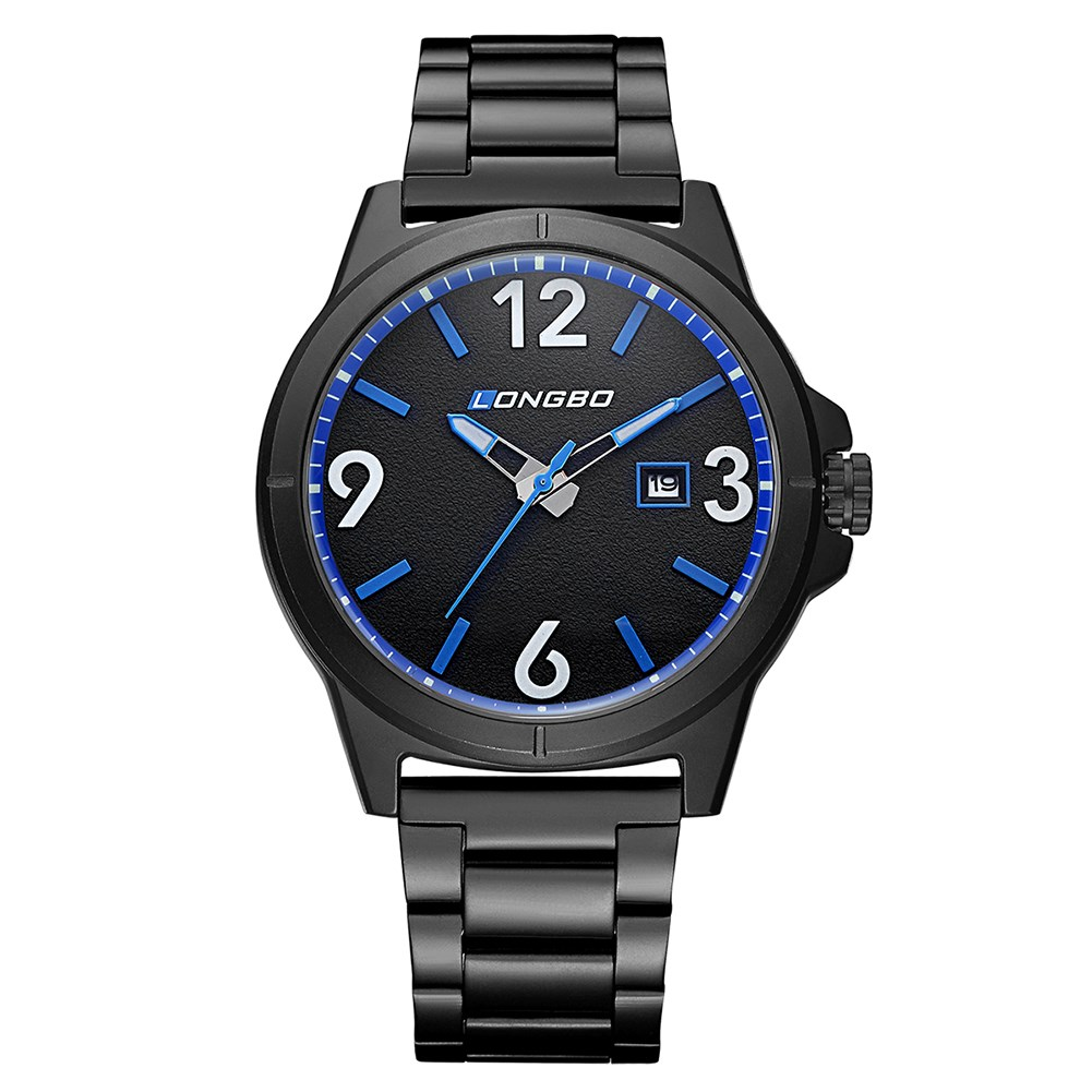 Fashion Design Alloy Analog Date Display Water Resistant Blue Dial Black Watchband Wrist Sports Swimming Watch for Men by