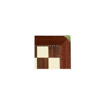 Mosaic Game Board w Brass Corners w Inlay Wood Border