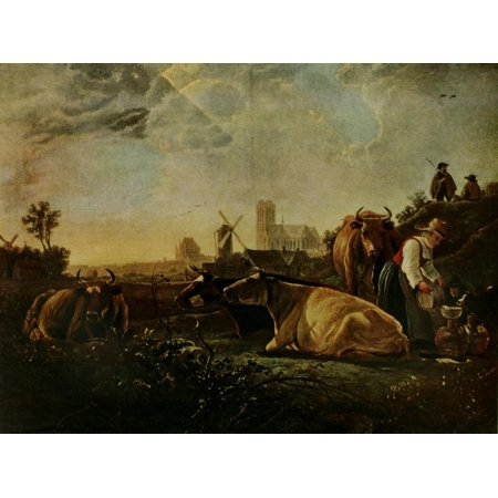 Adult Milkmaid (Cattle & figures with the milkmaid History of Painting 1911 Canvas Art - Aelbert Jacobsz Cuyp (18 x)
