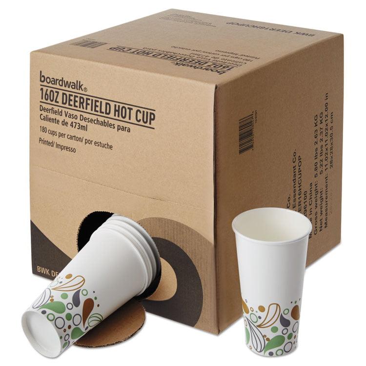 Convenience Pack Paper Hot Cups, 16 Oz, Deerfield Print, 180/carton