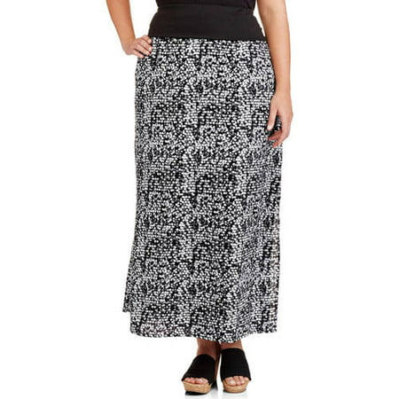 1e51e4b2990 Faded Glory - Women s Plus-Size Printed Maxi Skirt with Banded Waist ...