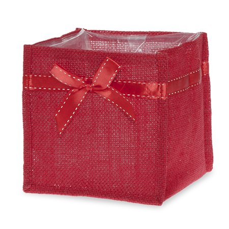 Square Section Bow - Red Jute Square Utility Bag with Red Bow - Medium 5in
