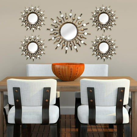 Stratton Home Decor Set of 5 Burst Wall Mirrors