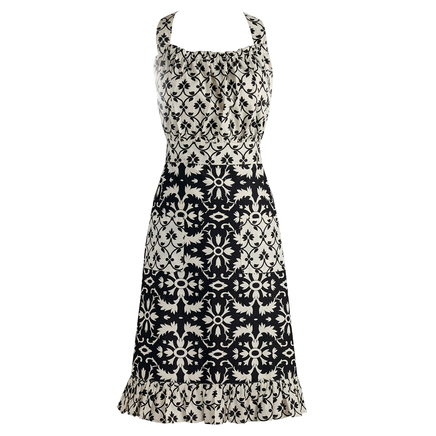 "DII Black & White Prints Vintage Kitchen Apron, 18""x35"", 100% Cotton, Multiple Colors/Patterns"