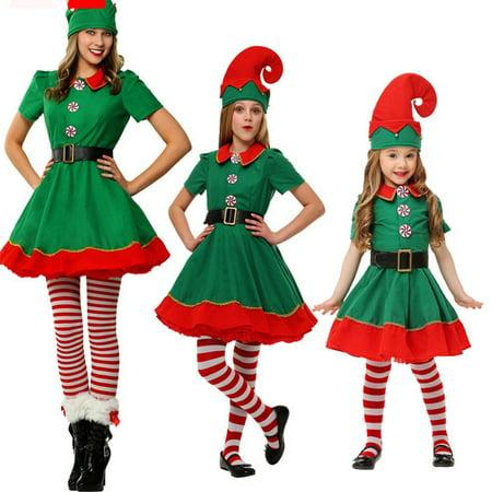Best Santa Costume (Adult Ladies/Kids Cosplay Cute Dress Polyester Christmas Elf)