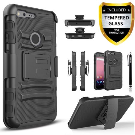 Google Pixel Case, (Not Fit 5.5 inch XL) Dual Layers [Combo Holster] Case And Built-In Kickstand Bundled with [Tempered Glass Screen Protector] Hybird Shockproof And Circlemalls Stylus Pen (Black)](Black Pixel Glasses)