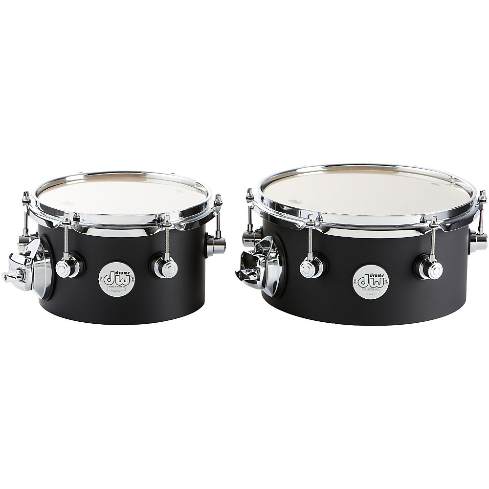 DW Design Series Concert Tom Set with Mount 8 10 Inch Black Satin by DW