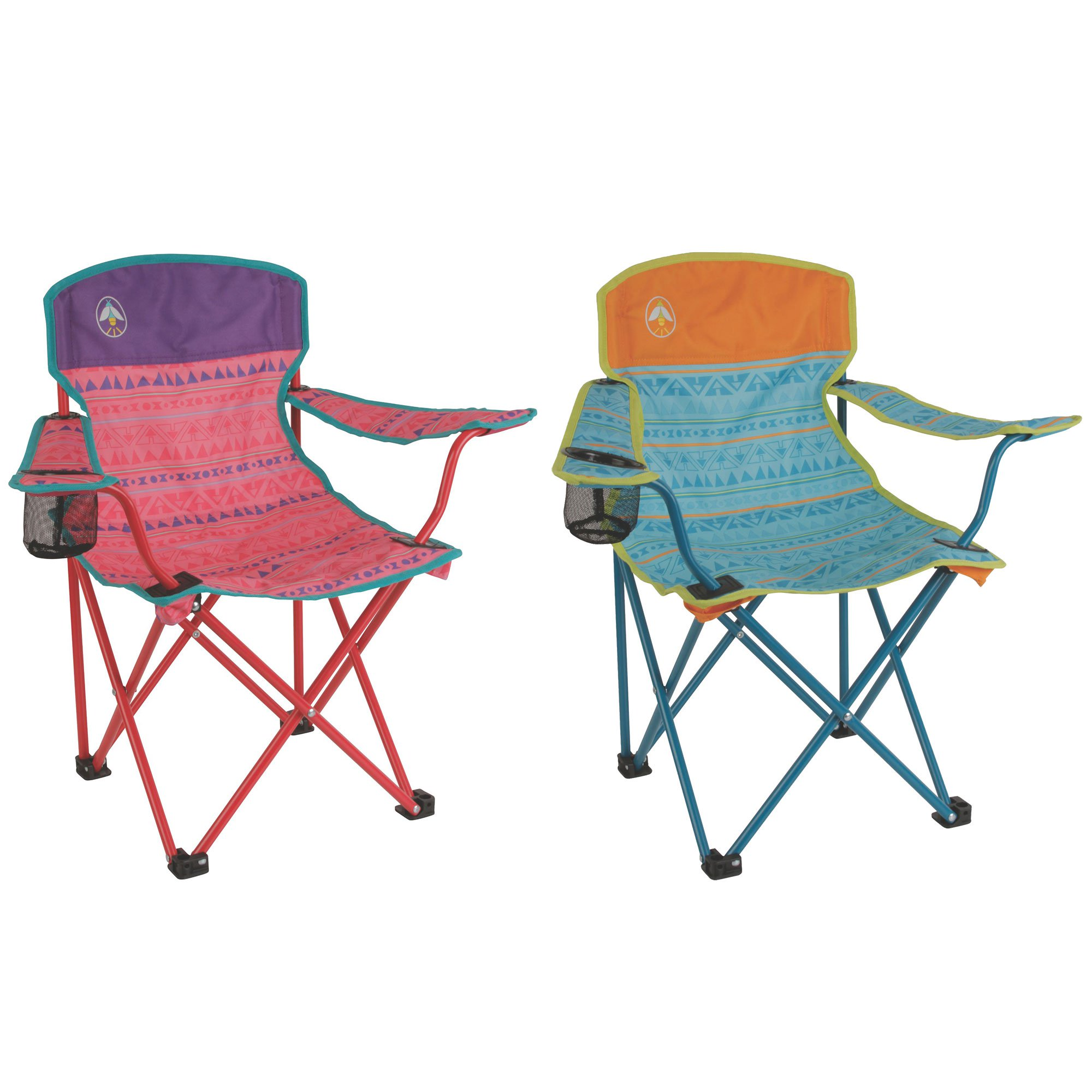 Coleman Kids Camping Glow In The Dark Quad Outdoor Chair, Tribal Teal