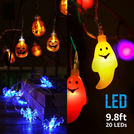 TORCHSTAR 3 in 1 Fun Decoration Lights with Ghost, Round Pumpkins & Bat Pendants, 9.8ft 20 LEDs for Outdoor