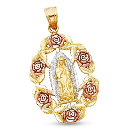 14k Yellow White Rose Gold Virgin Mary Rose Pendant Guadalupe Medallion Charm Tri Color 30 x 20 mm