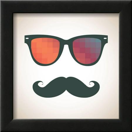 Vintage Hipster Background. Sunglasses and Mustache. Framed Print ...