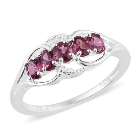 925 Sterling Silver Oval Rose Garnet Statement Ring for Women Cttw 0 9  Jewelry Gift