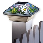 Collections Etc Spring Solar Fence Post Cap Light with Beautiful Colorful Flowers and Hummingbirds, Flower