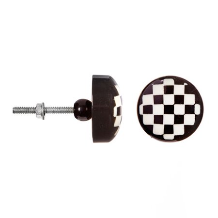 Decorative Knob - Resin - Round - Black and White Checker Board