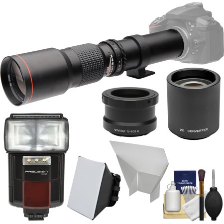 Vivitar 500mm f/8.0 Telephoto Lens (T Mount) with 2x Teleconverter (=1000mm) + Flash + Soft Box + Reflector Kit for Canon EOS M Cameras