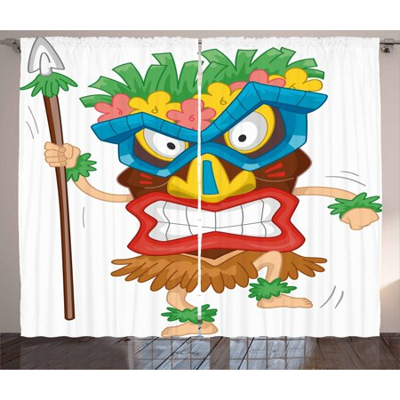 Tiki Bar Decor Curtains 2 Panels Set, Native Man Wearing Mask Illustration Cartoon Tribal Costume Primitive Ritual, Window Drapes for Living Room Bedroom, 108W X 90L Inches, Multicolor, by Ambesonne - Tiki Costume