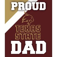 """Texas State Bobcats NCAA Collegiate 5"""" x 6"""" Rectangle Stripe Proud Dad Decal Sticker"""