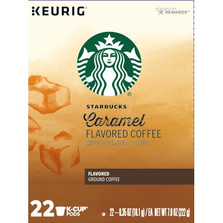 Starbucks Caramel Flavored Medium Roast Single Cup Coffee for Keurig Brewers, 1 Box of 22 (22 Total K-Cup