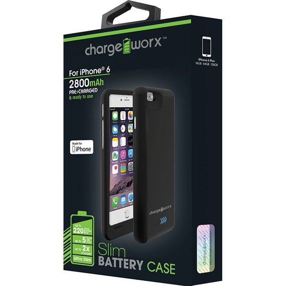 best cheap 89908 a286a Chargeworx CX7006BK 2800 mAh Battery Case for iPhone 6, Black