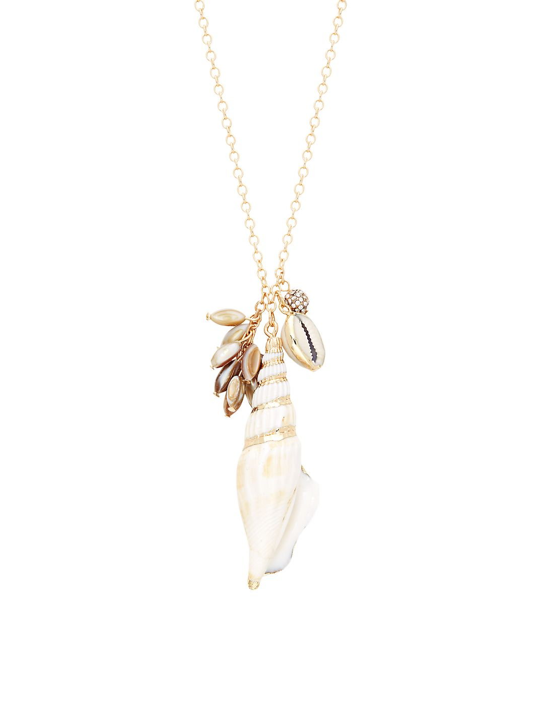 Goldtone Shell Cluster Necklace