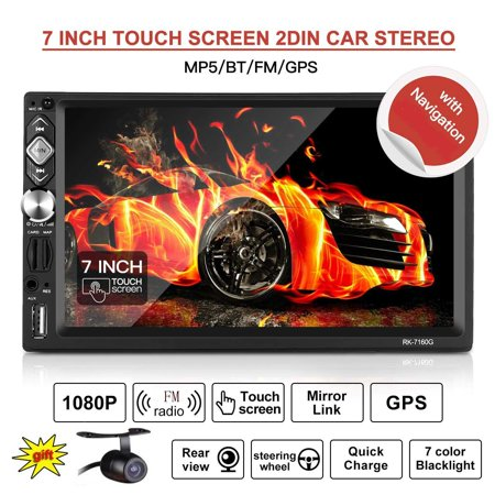 Reversing Camera Included! Double DIN Car Radio Navigation with HD 1080P Touch Screen Car Stereo MP5 Player Bluetooth,GPS,Mirror link,Sat Nav Built-in 8GB Map Card,Support USB/TF/FM (Best Built In Car Sat Nav)