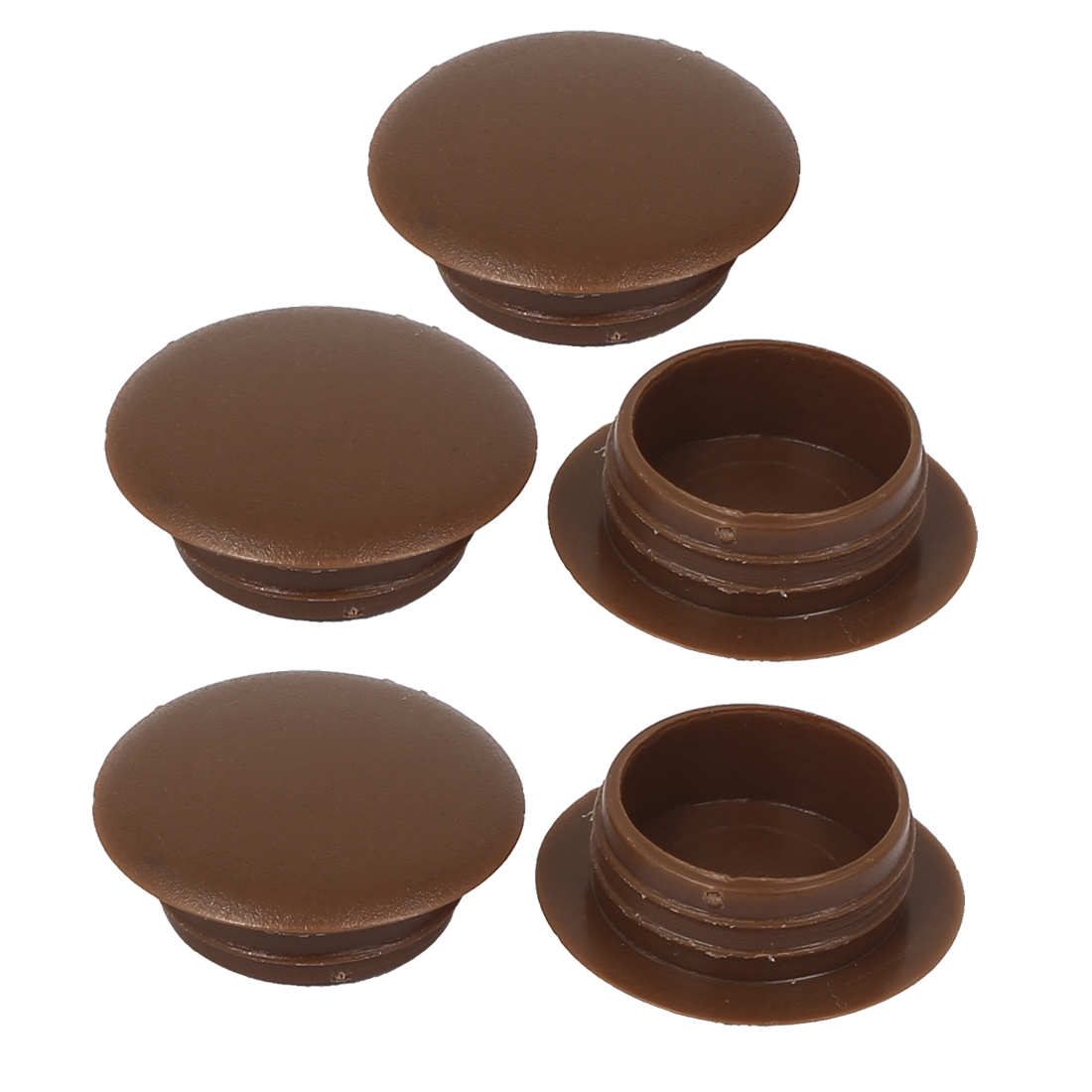 5pcs Brown Plastic Press On Cap Screw Cover for 16mm Dia Hole