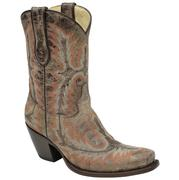 Corral Womens Orange Stitched Short Boots