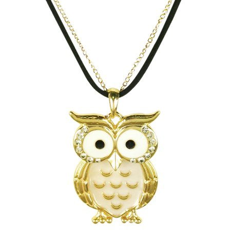 Eyed Owl Pendant - Wrapables® Owl Pendant Necklace with Crystal Rimmed Eyes