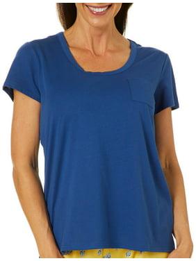 Coral Bay Womens Solid Chest Pocket Pajama Top Medium Navy blue