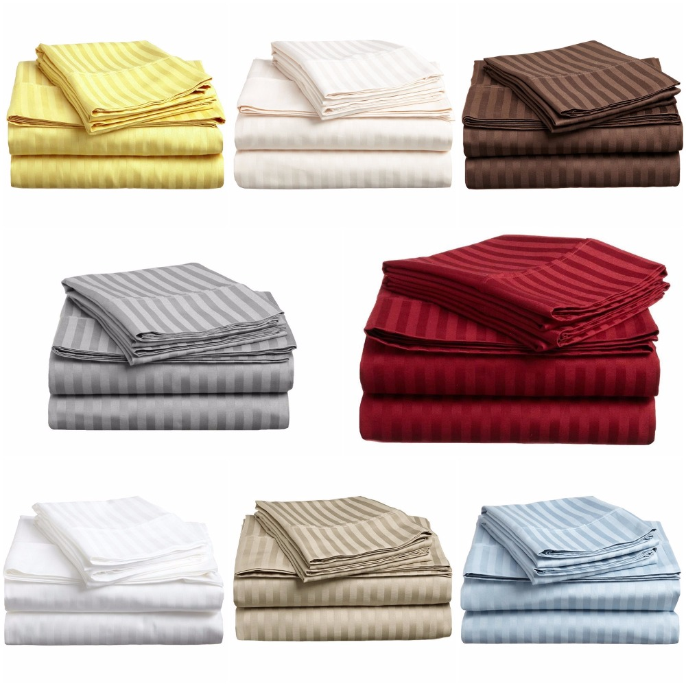 Microfiber Luxury Ultra Soft Satin Stripe Fitted Sheet 1 Piece Queen