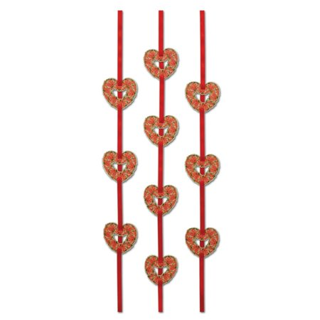 Club Pack of 36 Valentine Themed Floral Heart Ribbon Stringer Hanging Party Decorations 4'