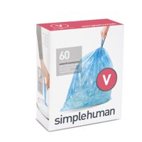 simplehuman Code V Custom Fit Recycling Liners, 16-18 Liter / 4.2-4.8 Gallon, 60 Count, Blue