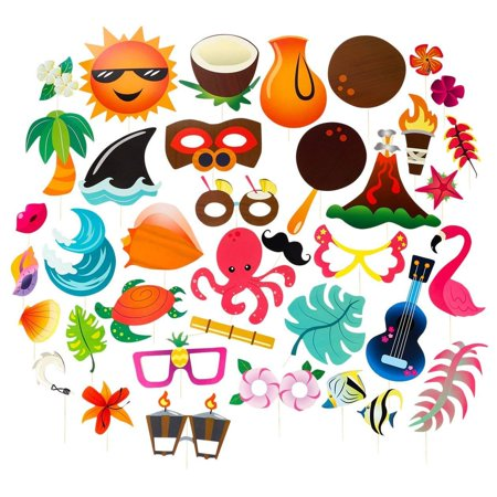Tiki Bar Party Supplies (Luau Photo Booth Props - 72-Pack Luau Party Supplies, Selfie Props, Hawaiian Party Favors for Cocktail Parties, Tiki Parties and Hawaiian-Themed)
