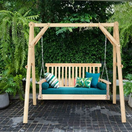 4 Porch Swing Natural Wood Garden Swing Bench Patio Hanging Seat Chains