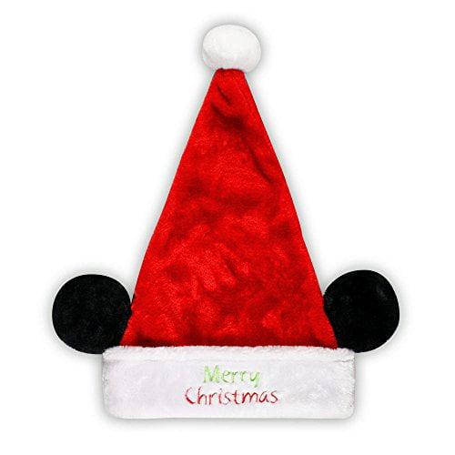 Disney Mickey Mouse Minnie Mouse Plush Santa Hat with Ears Ho Ho Ho (Merry Christmas)