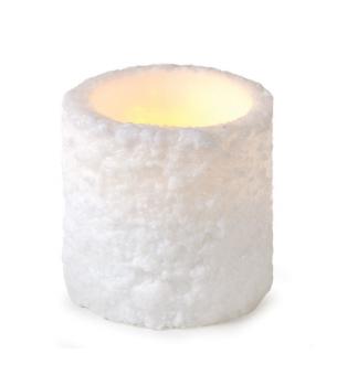 "2  White LED Snow Textured Flameless Wax Christmas Pillar Candles 6"" x 6"""