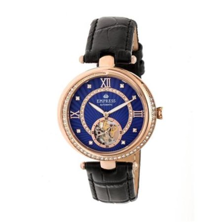 Empress EMPEM2105 Stella Womens Automatic Semi-Skeleton Dial Leather Band Watch - Rose Gold, Black & Black - image 1 de 1