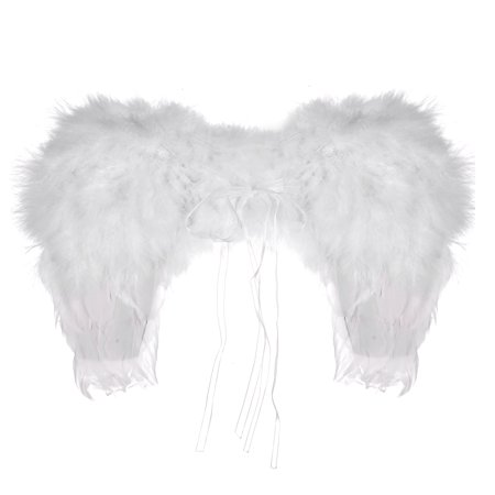 Lux Accessories White Halloween Dress Up Costume Heaven Feather Angel Wings (Bands To Dress Up As For Halloween)
