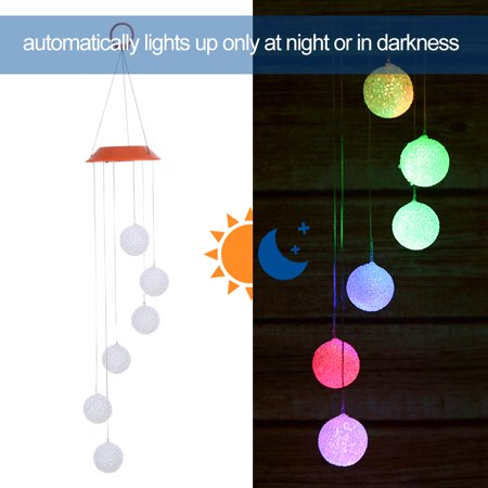 Color Changing Solar Wind Chime Six Balls Mobile Romantic Wind-Bell Outdoor LED Hanging Night Lights for Garden Yard Festival Decor - image 2 of 7
